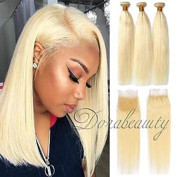 Dorabeauty 613 Blonde Hair 4 4 Lace Closure With 3 Bundles 100 Brazilian Remy Human Hair St 10 Closure 12 14 16 Bundles Straight Blonde