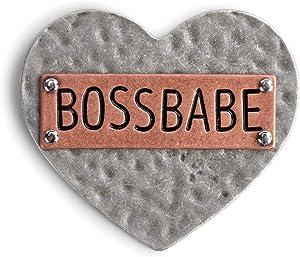 Boss Babe Heart Inspiring Silver Tone 3 x 3 Hammered Metal Refrigerator Magnet