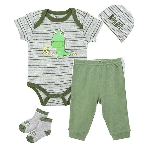 Babynice Vêtements Ensemble Bébé Body Combinaison+Pantalon Casual+Bandeau  +Chaussettes Souple Tenue 4pcs f56f0953dcb