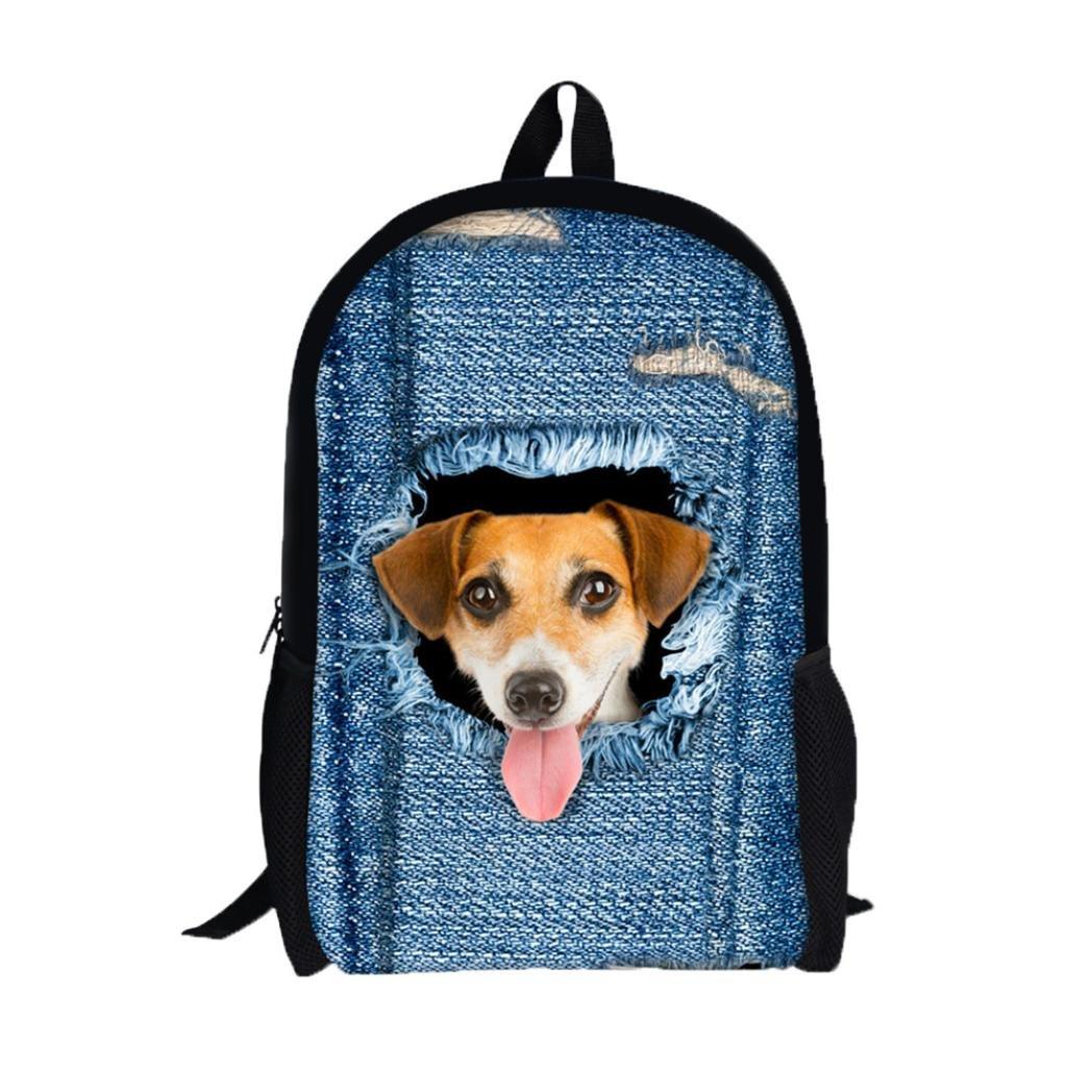 Creazydog Creazy 3D Animal Print Cat Dog Backpack Student School College Shoulder Bags (E)