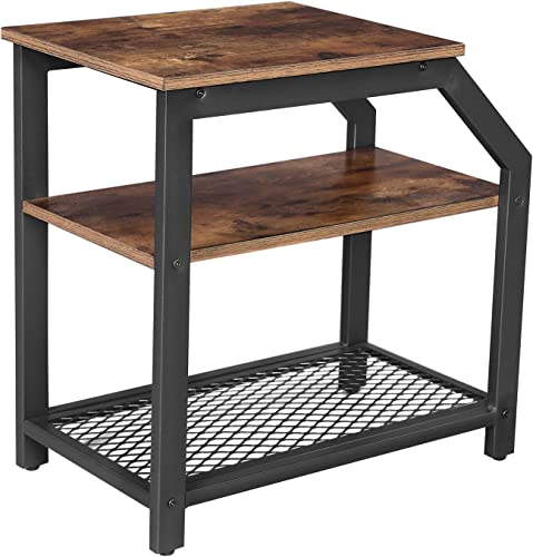 VASAGLE Industrial Side Table, 3-Tier Nightstand with Storage Shelves, End Table for Small Spaces, Sturdy and Easy Assembly, Wood Look Accent Furniture with Metal Frame, Rustic Brown ULNT58BX