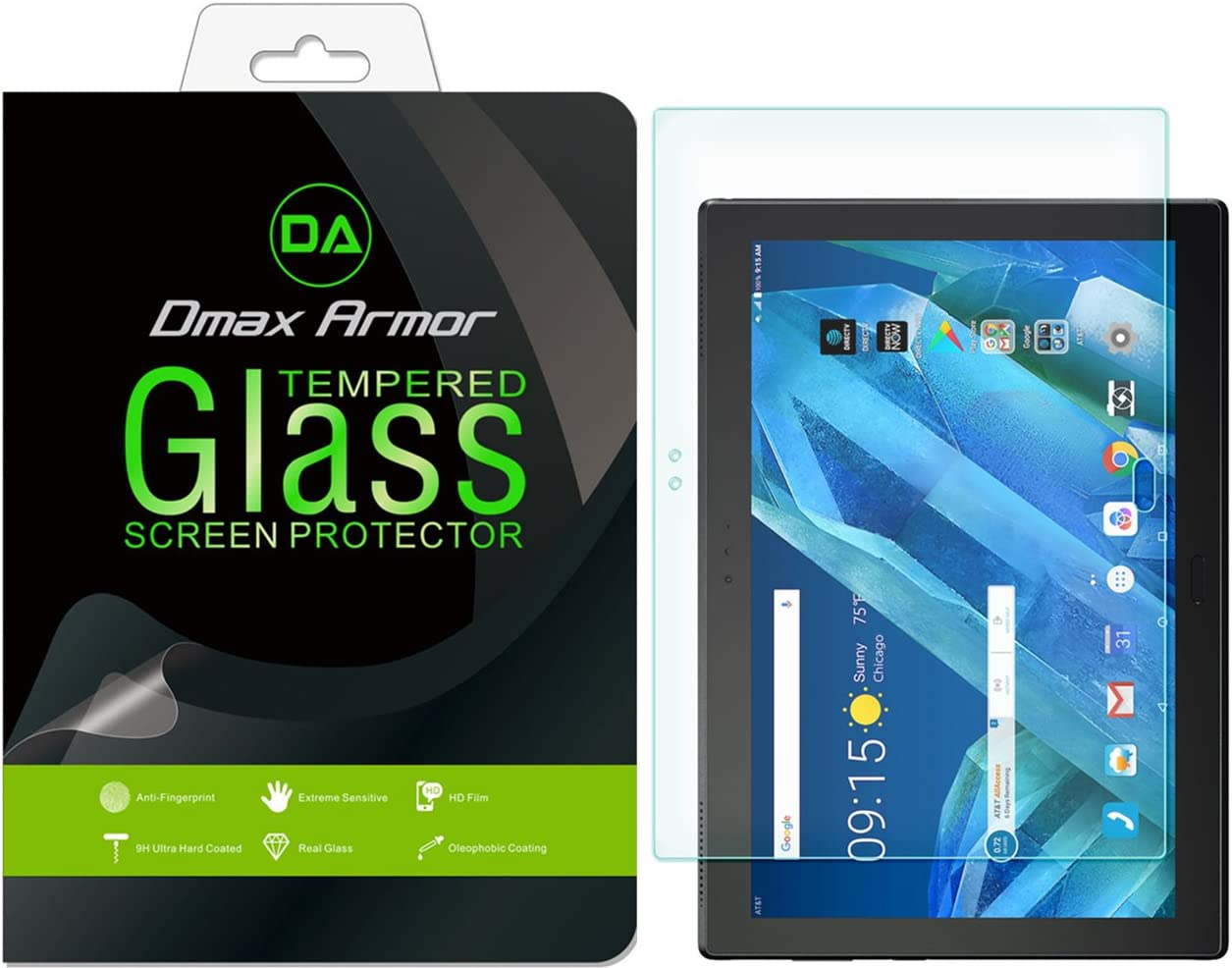 Dmax Armor for Lenovo Tab 4 10 Plus (10.1 inch) Tempered Glass Screen Protector, [Tempered Glass] 0.3mm 9H Hardness, Anti-Scratch, Anti-Fingerprint, Bubble Free, Ultra-Clear