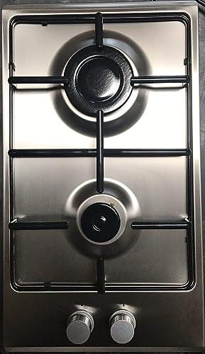 Cocina de gas de Gasline Domino, placa de montaje de acero inoxidable, hornillo de gas de 2 fuegos, Autark LPG