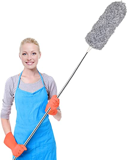 Telescopic with Microfiber Head Long Handled Flexible Duster for Cleaning Cobwebs Blinds Baseboards and Cars High Ceiling Fan Radiators Lights Activave Extendable Feather Duster Blue