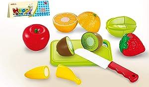 Toyzabo Pretend Food Cutting Toy Fruit Food Toys Kids Pretend Food Pretend Play Fruit Toy Cutting Food Toy Plastic Food Fruit Meal Planning Educational Playset
