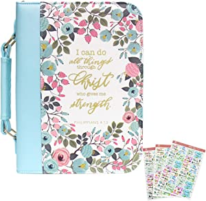 INSPRING PU Leather Bible Cover Case and Floral Bible Tab Set with Lay-Flat Handle Christian Easter Gift for Women and Girls, Fits Bibles Up to 10.5 x 7 x 2.6 inches