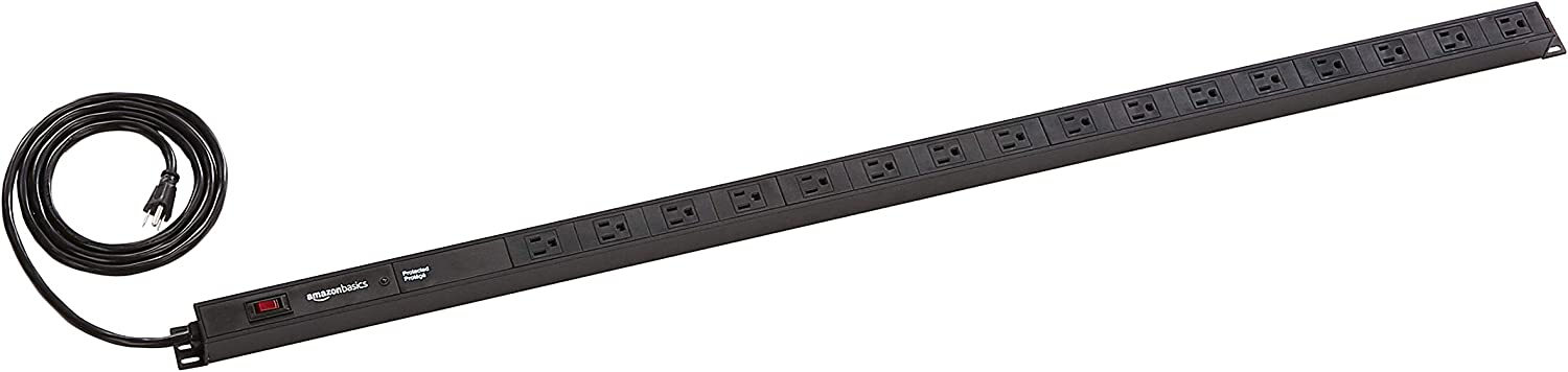 AmazonBasics Heavy Duty Metal Surge Protector Power Strip with Mounting Brackets - 16-Outlet, 840-Joule (15A On/Off Circuit Breaker)