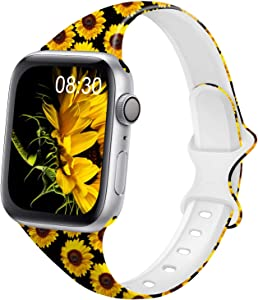 DYKEISS Pattern Printed Slim Silicone Band Compatible for Apple Watch Band 38mm 42mm 40mm 44mm, Fadeless Floral Thin Narrow Replacement Strap for iWatch Series 5/4/3/2/1 (Sunflower, 38mm/40mm)