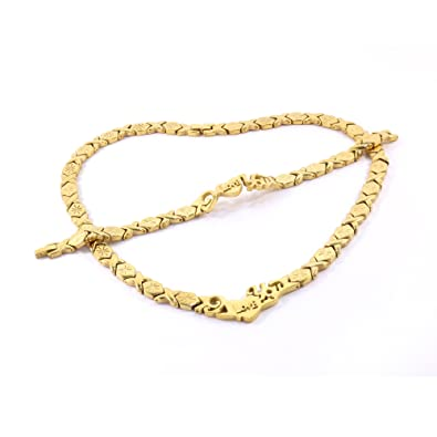I LOVE YOU GOLD TONE HUGS AND KISSES NECKLACE \u0026 BRACELET SET XOXO STARBURST  18\u0026quot;