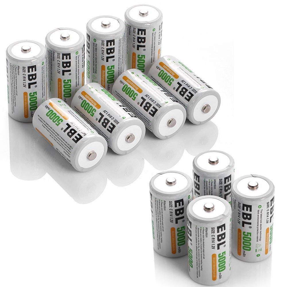 EBL 5000mAh Ni-MH Rechargeable C Batteries, 12 Pack by EBL