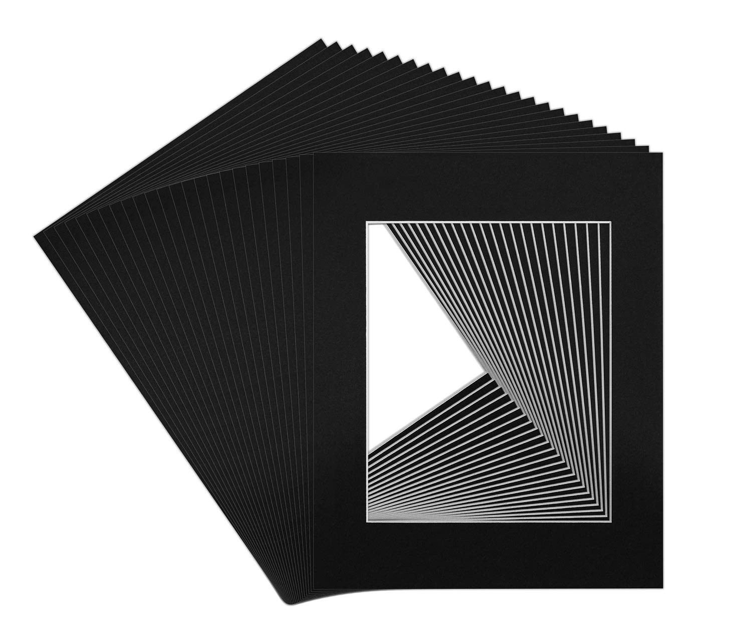 Golden State Art, Acid Free, Pack of 25 11x14 Black Picture Mats Mattes with White Core Bevel Cut for 8x10 Photo