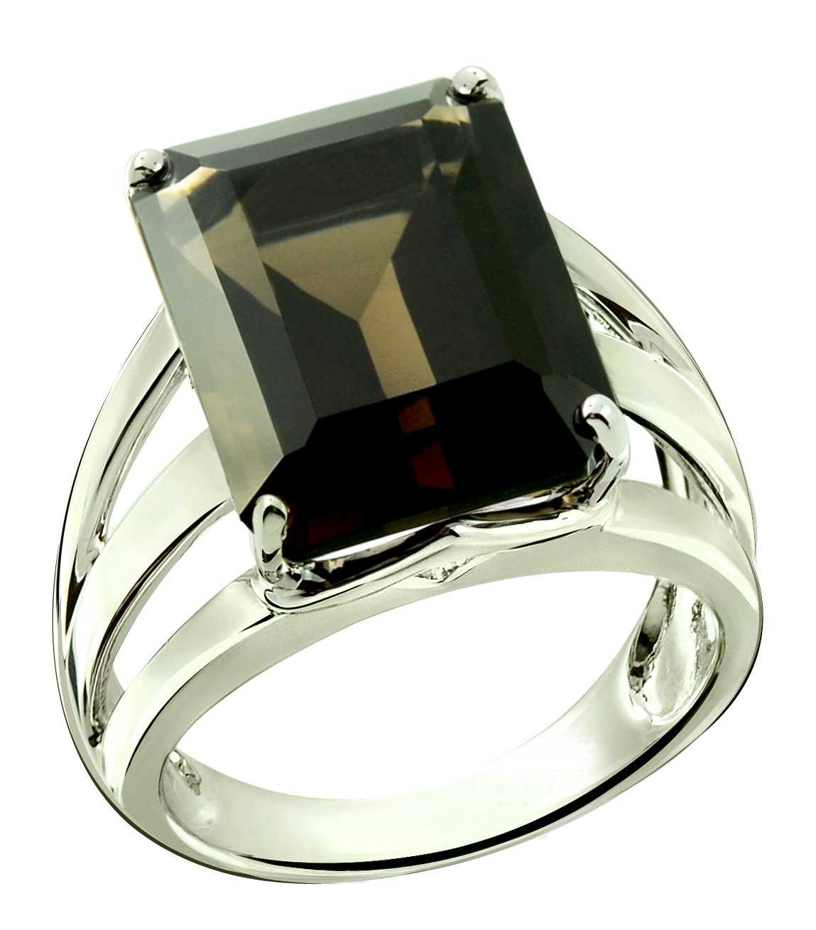 RB Gems Sterling Silver 925 STATEMENT Ring GENUINE GEMSTONE Octagon 16x12 mm with Rhodium-Plated Finish (12, smoky-quartz)