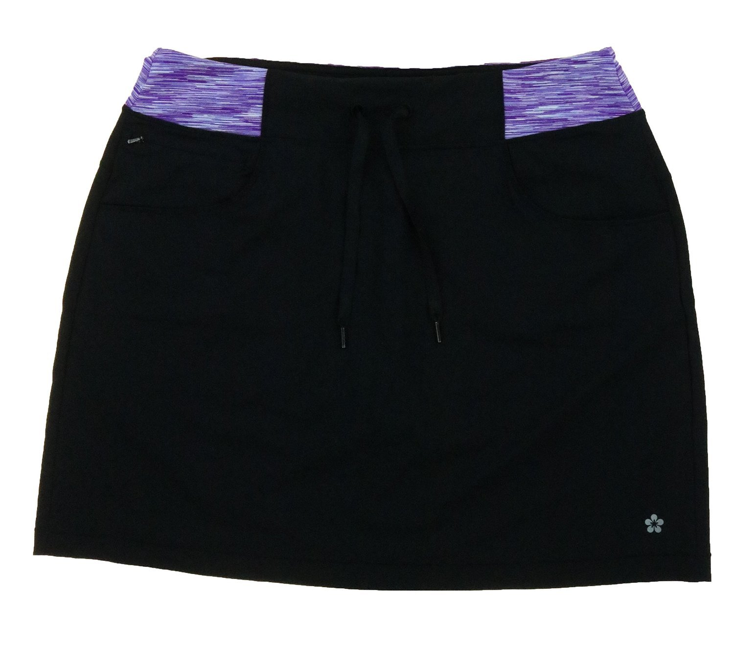 Tuff Women's Athletic Active Yoga Skort (Medium, Black / Purple Space Dyed)