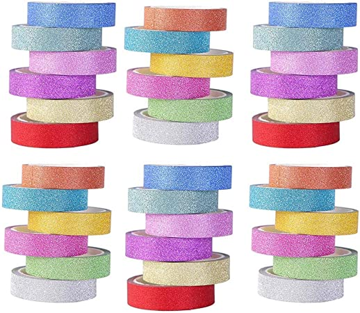 Planner; Gift Wrapping; DIY Arts /& Crafts Journal Variety of Colors in Solid 24 Rolls Multi-Purpose Washi Tape Set Glitter /& Foil| Great for Adults and Kids; Decorating Scrapbook