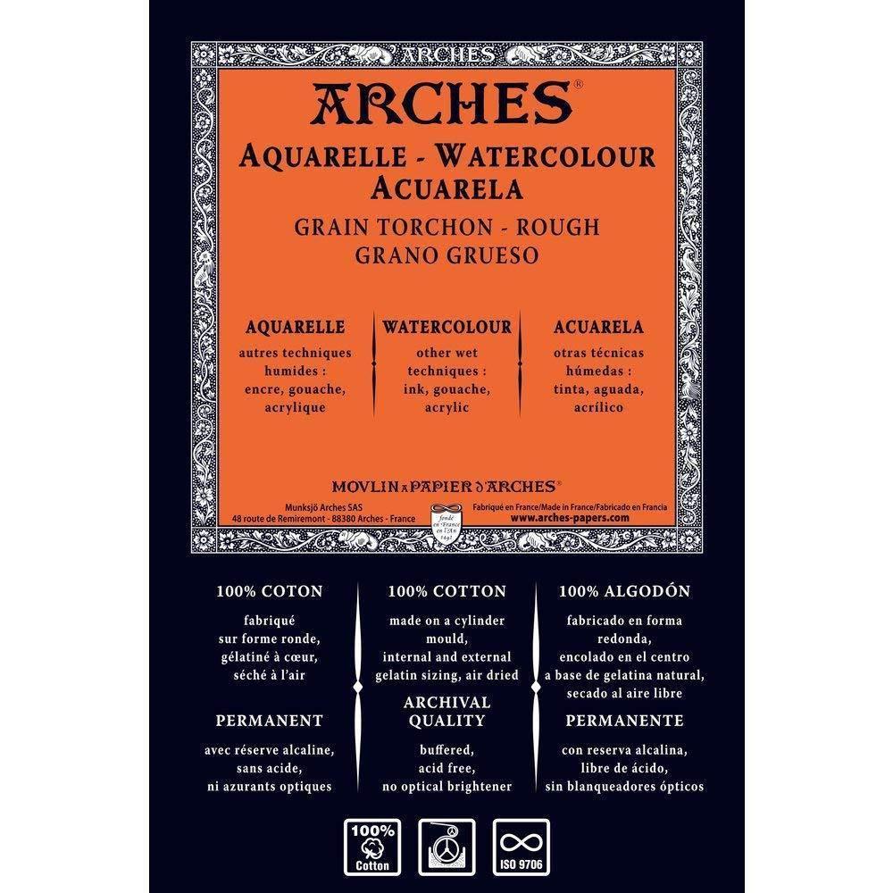 Arches 1795088 Aquarellpapier im Block (36 x 51 cm, 4-seitig geleimt, 300g m² Grobkorn) 20 Blatt naturWeißszlig;  Rolle - 130 x 914cm