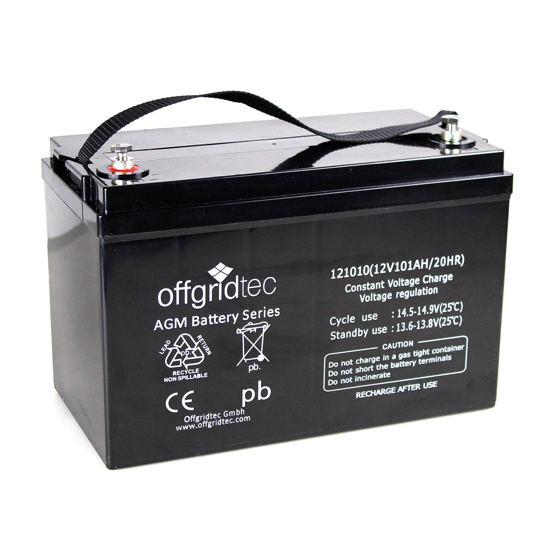 Offgridtec AGM Solar Batterie fü r zyklische Anwendungen, 101 Ah / 12 V, 001004