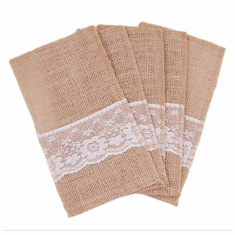 GOOTRADES Hessian Burlap Lace Wedding Cutlery Holder Pouch Rustic Decorations Favor (pack of 10) TRTA11A