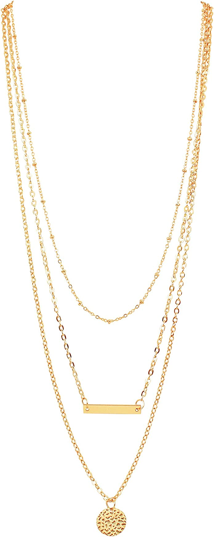 Amazon Com Pop Fashion Gold Multi Layered Clavicle Necklace Triple Layer Gold Pendant Necklace For Women Layered Choker Chain Necklace 3 Multi Layer Necklace Tassel Charm Bar Necklaces Msrp 54 Jewelry