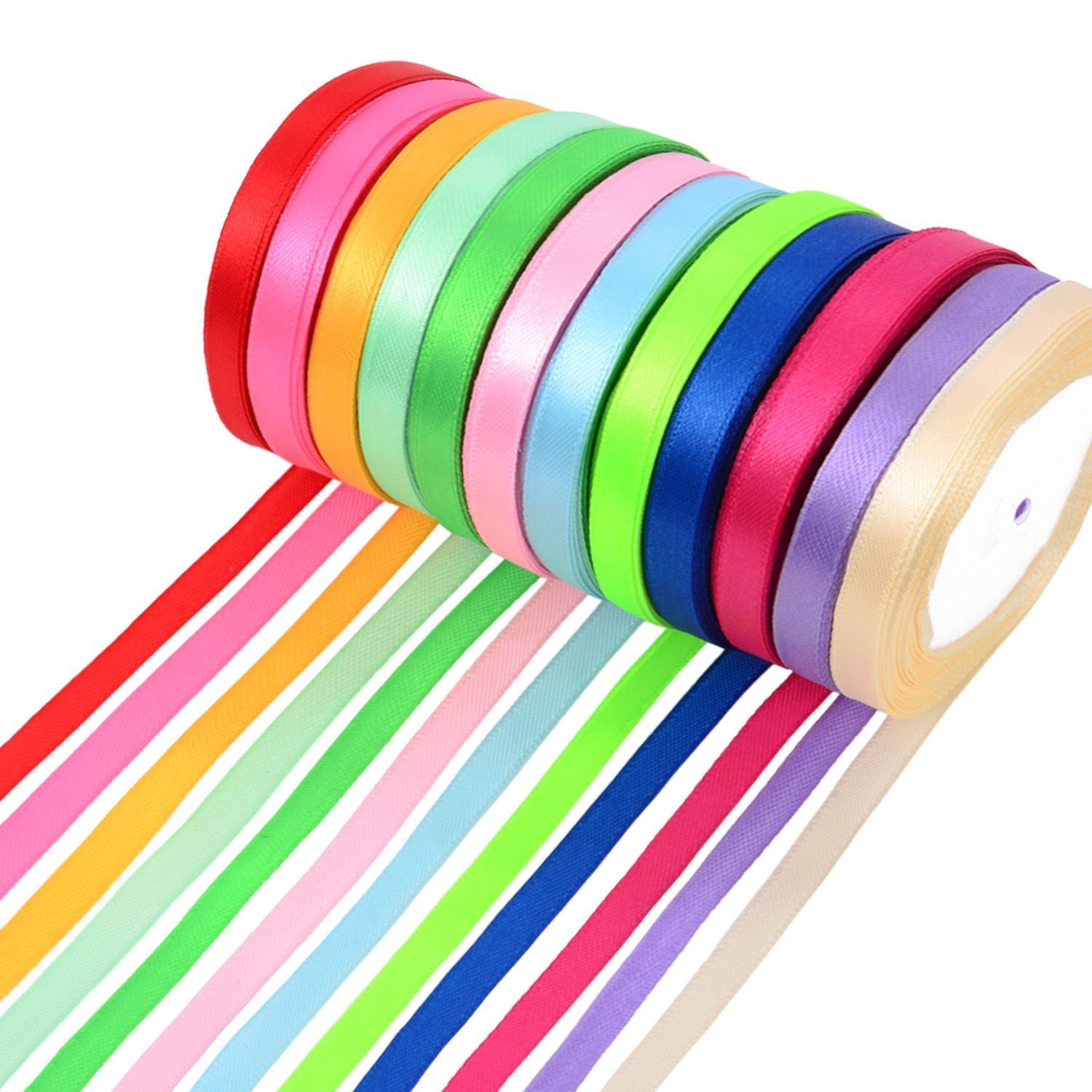 M-Aimee 300 Yards Double Sided Fabric Ribbon Silk Satin Roll, 12 Colors (10 mm Wide)
