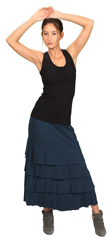 0a6fa5dec9de31 Amazon.com  Women s Multi Layered Long Ruffle Cotton Maxi Skirt  Handmade