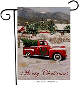 Artofy Merry Christmas Decorative Small Garden Flag, Country House Yard Outside Welcome Decor Red Truck Xmas Tree, Winter Holiday Farmhouse Home Decorations Seasonal Outdoor Flag Double Sided 12 x 18