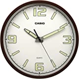 Casio Round Resin Wall Clock (30.5 cm x 30.5 cm x 4.3 cm, IQ-78-5DF), Brown
