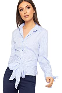 75a70fda58 WearAll Women s Striped Wrap Tied Shirt New Ladies Button Collar Long  Sleeve Top 8-14