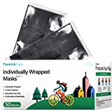 50 PCS Black Disposable Face Mask, Black Disposable Face Mask Individually Wrapped, Melt-Blown Fabric 3 Layer Face Mask, Brea