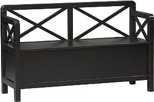 Linon Home Anna Storage Bench, Black