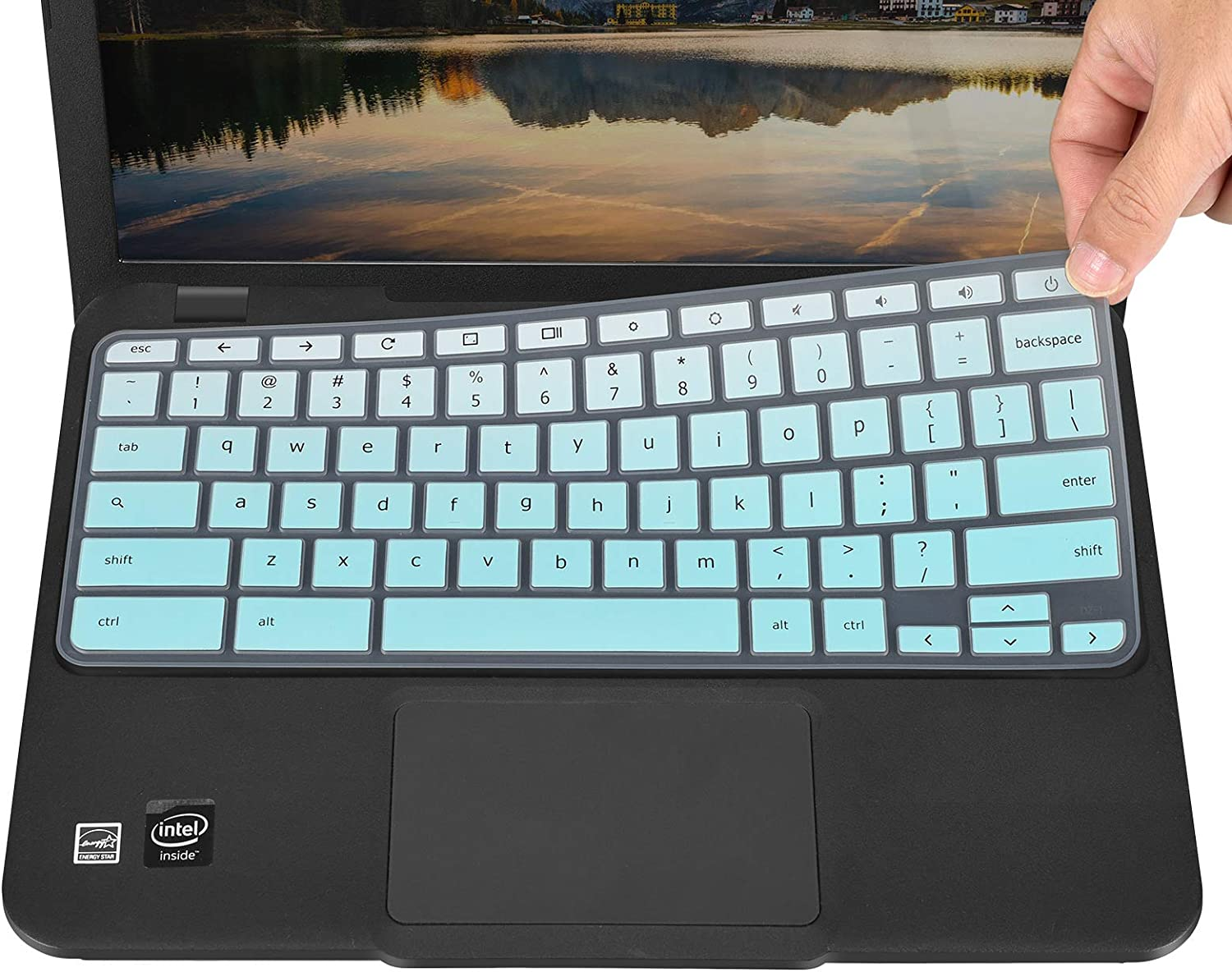 Keyboard Cover for Acer Chromebook R11 CB5-132T, Chromebook 14 CB3-431, Chromebook 514 CB514, Chromebook CB3-532, Chromebook R 13 CB5-312T, Chromebook Spin 311 CP311 CP315 CP713 - Gradual Mint