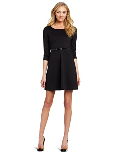 Star Vixen Women's Ponte Skater Dress With Belt