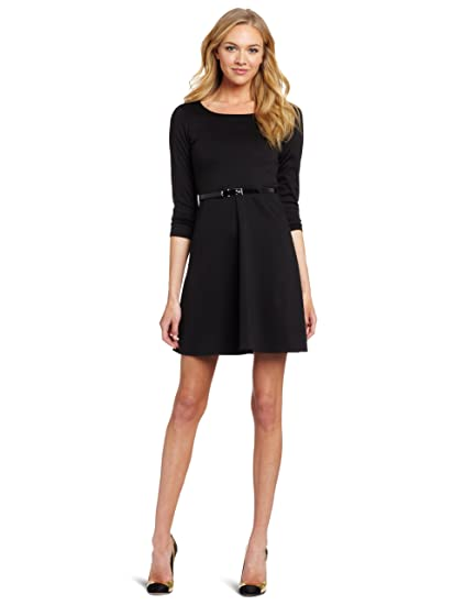 Star Vixen Womens Ponte Skater Dress With Belt At Amazon Womens
