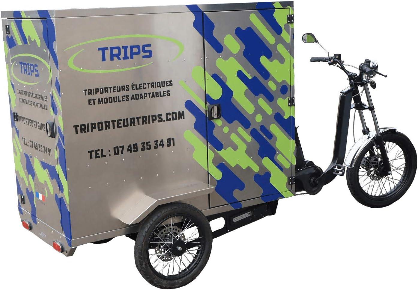 TRIPS - Triportador eléctrico de 250 kg de carga. Módulos: Street Food Truck Cociine-Trans Palets – Pickup – Cargo envío – Taxi