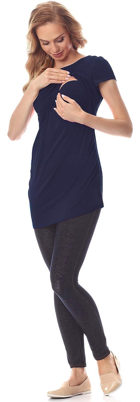 Be Mammy dam omstand tröja blus med amningsfunktion BE20-235 marinblå
