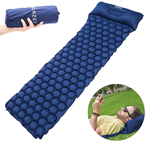 omzer Inflatable Sleeping Pad Ultralight Camping Mats For Backpacking Hiking Hammocks Tent With Attached Pillow Compact folding Air Mattress Waterproof And Lightweight Fit Adults Kids