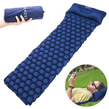 OMZER Ultralight Sleeping Pad, Compact for Backpacking Hiking Camping Hammocks with Attached Pillow,Inflatable Sleeping Air Mattress Pad Durable and Lightweight Fit Adults Kids