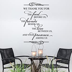 N.SunForest We Thank You for The Food Religious Quote Bible Verse Spiritual Saying Family Prayer Vinly Wall Decal for Dining Room Wall Decor