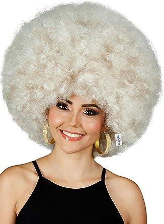 NEW 70/'s Unisex Afro Blonde Fancy Dress Wig One Size