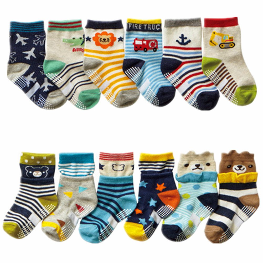 Baby Boy Non-Skid Cozy Soft Cotton Socks Value Pack, Bootie Socks 12-Pack Multi 0-3 years