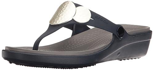 de87a68d3efe crocs Women s Sanrah Embellished Wedge Flip Fashion Sandals  Buy ...