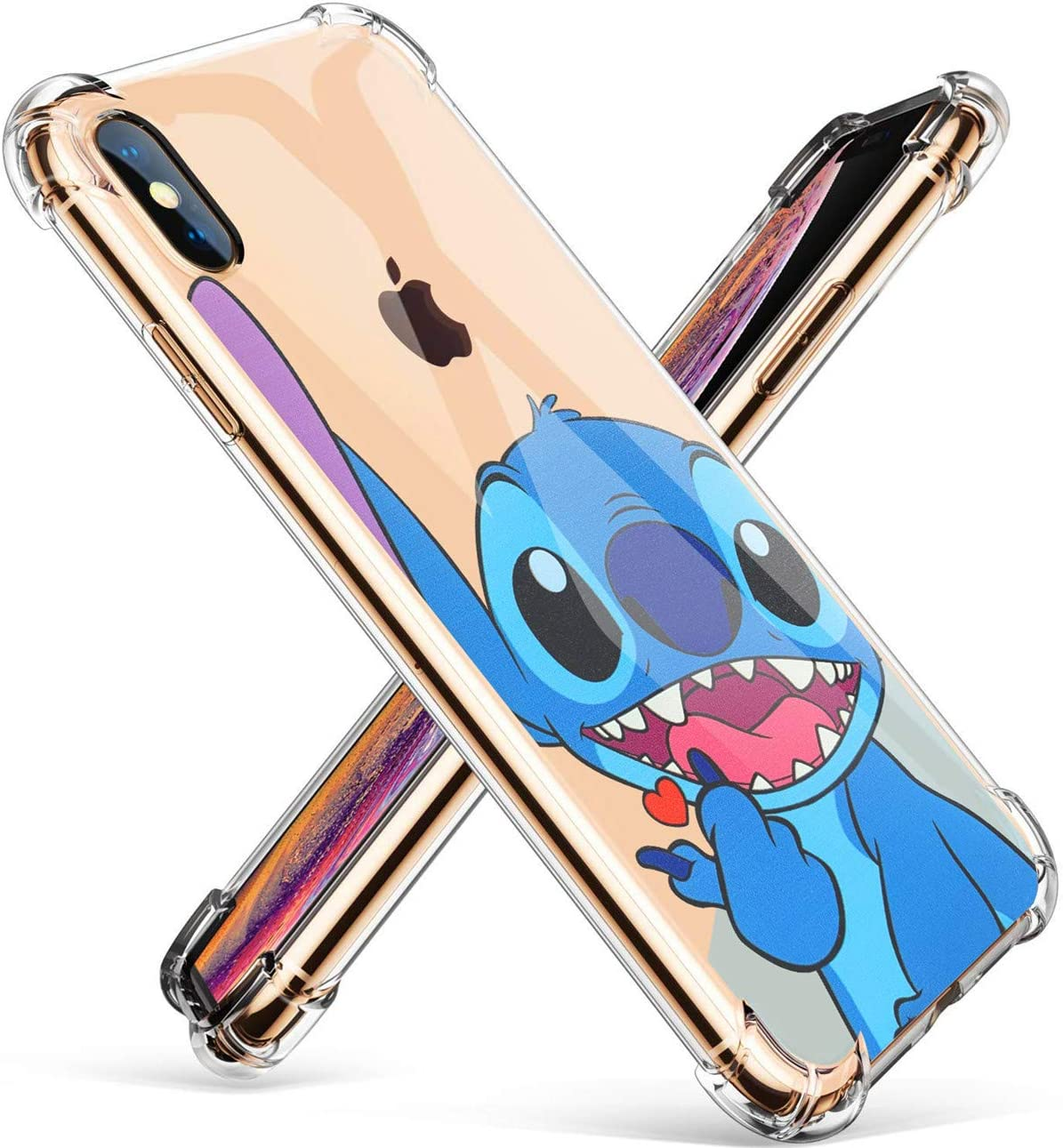 "Logee Sweet Stitch TPU Cute Cartoon Clear Case for iPhone X/iPhone Xs 5.8"",Fun Kawaii Animal Soft Protective Shockproof Cover,Ultra-Thin Funny Character Cases for Kids Teens Girls Boys (iPhoneXs)"