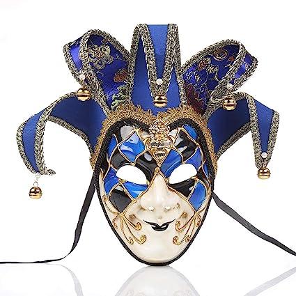 zchg - Máscara antiedad para Fiestas de Disfraces navideñas, diseño de Venecia de Italia Azul