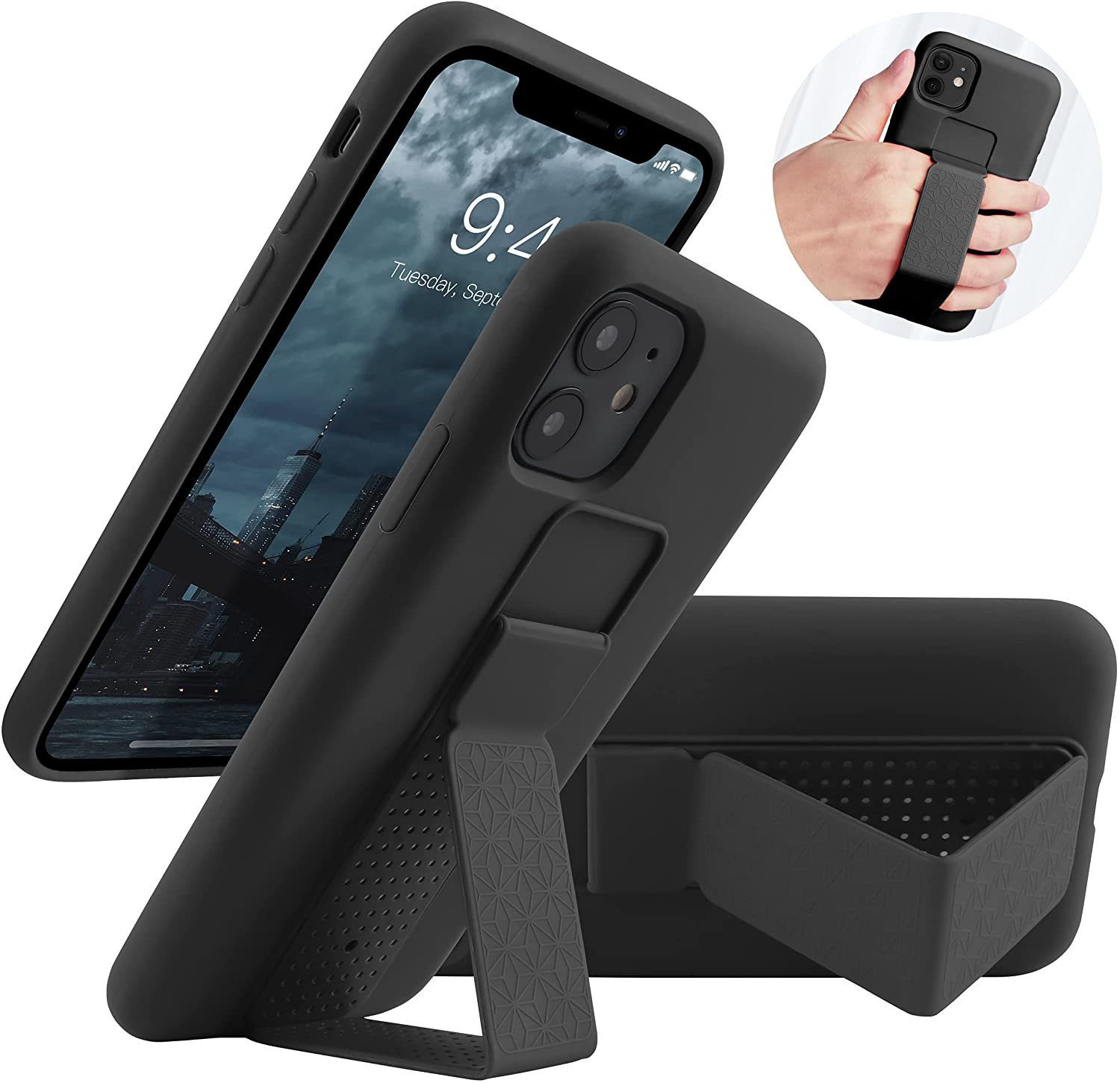 LAUDTEC Silicone Kickstand Case Compatible with iPhone 11 case Vertical and Horizontal Stand Hand Strap Metal Kickstand, Flexible Soft Liquid Silicone Stand Case for iPhone 11(Black)