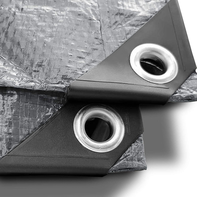 env 2x3m Bache renforc/ée haute densit/é 240g//m/² 100/% imperm/éable /à leau et aux UV B/âche de protection casa pura/® en poly/éthyl/ène Argent/é