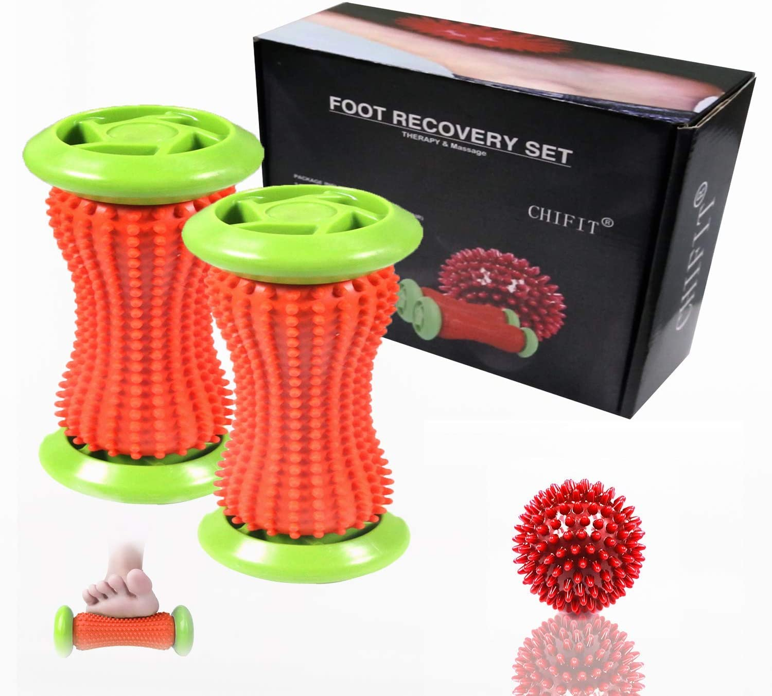 ChiFit Foot Rollers, Plantar Fasciitis Massage Rollers(2 Foot Rollers +1 Spiky Ball),Manual Foot Massagers - Shiatsu Acupressure Relaxation - Foot Arch Pain Instant Relief. - Parents Gift Kit
