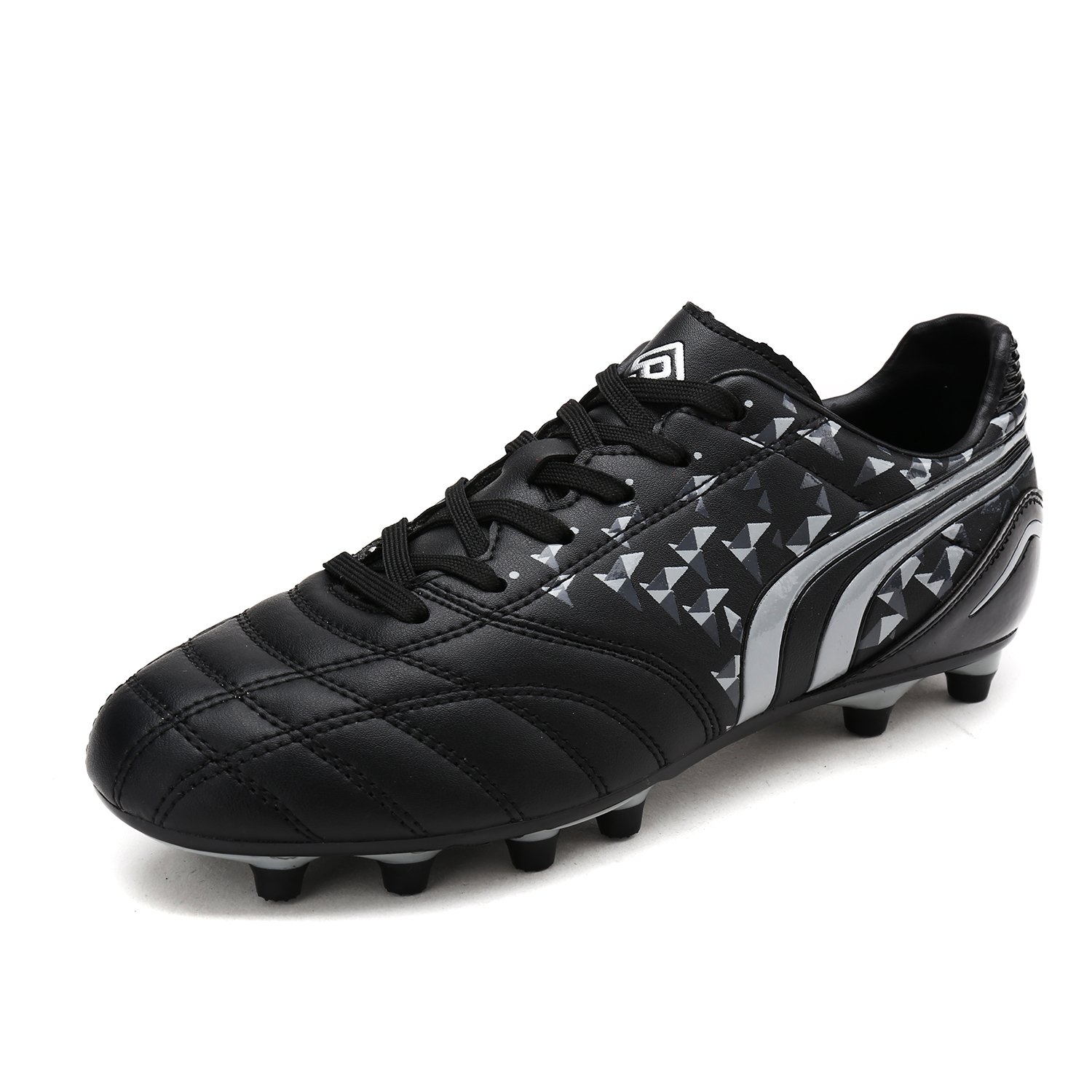 DREAM PAIRS Men's 160860-M Black Grey Cleats Football Soccer Shoes - 10.5 M US by DREAM PAIRS