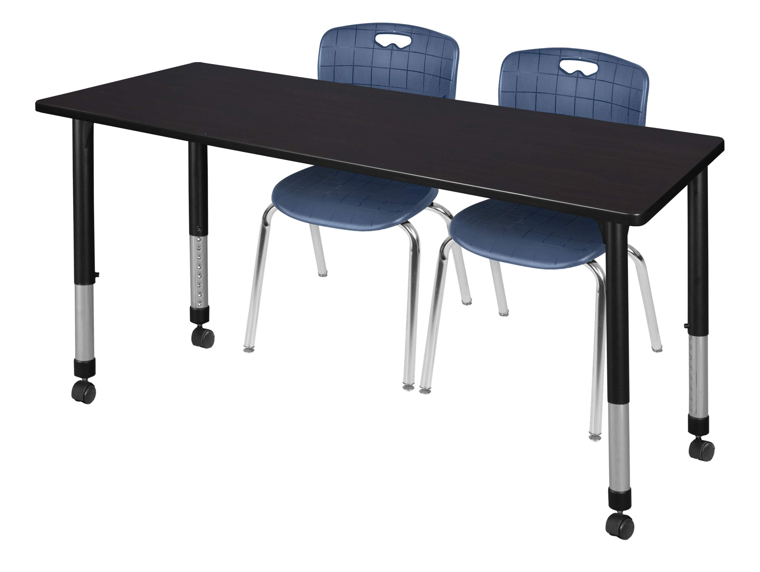 Regency MT7230MWAPCBK40NV Kee Height Adjustable Mobile Classroom Table Set with Two 18'' Andy Chairs 72'' x 30'' Mocha Walnut/Navy Blue