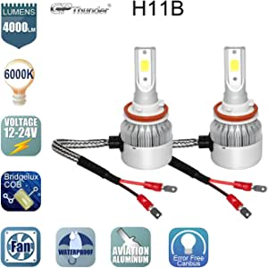 GP Thunder GP-LH-H11B LH Headlight Bulb(80W 6000K 8000LM For Low or High Beam Direct fitment), 2 Pack