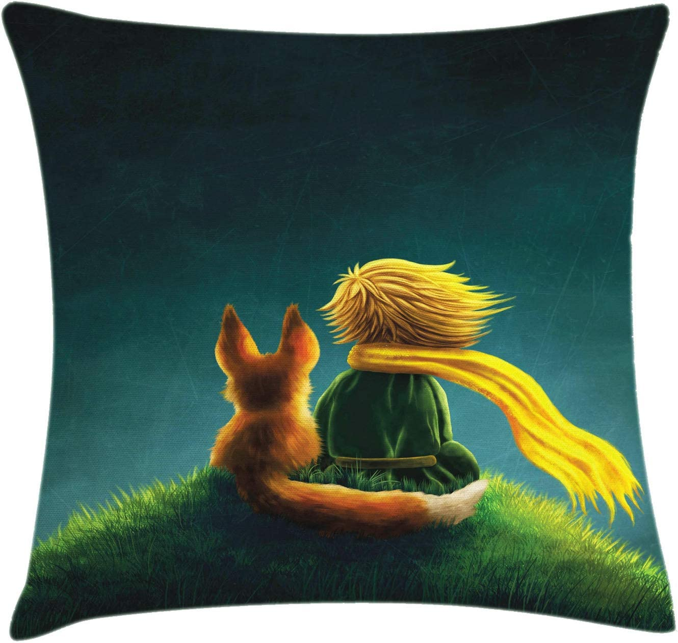 """Ambesonne Fantasy Throw Pillow Cushion Cover, Children Design Little Prince and The Fox Looking at The Sky Pattern, Decorative Square Accent Pillow Case, 16"""" X 16"""", Fern Green"""