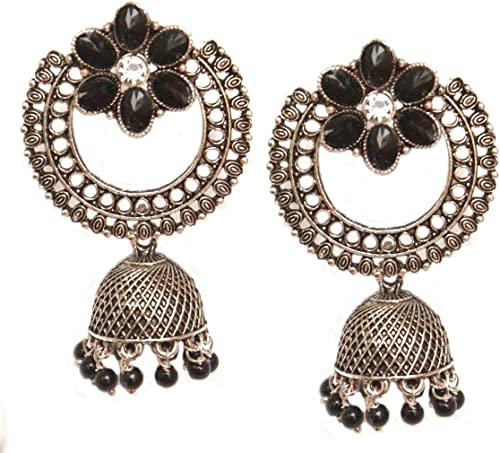 Goddess Lakshmi stud with Antique gold Ball Unique Earrings  Indian Traditional Earrings  Polki Earring  Traditional Jewelry Ball Jhumka